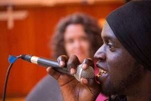 Silas Balabyekkubo performing at Social Change Institute. Photo credit: Bill Weaver
